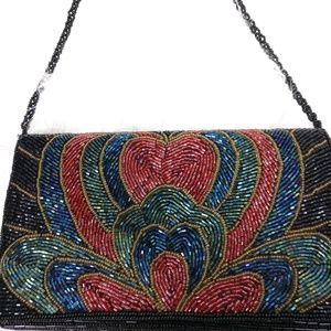 Vintage Unique Beaded Clutch Purse Abstract